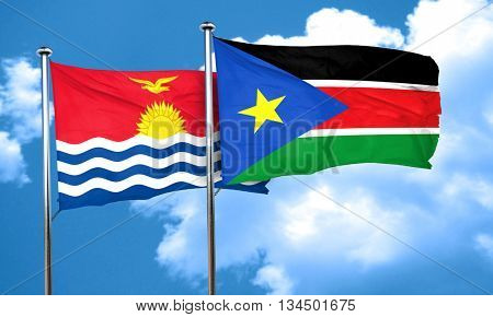 Kiribati flag with South Sudan flag, 3D rendering