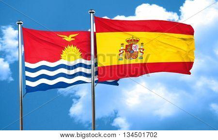 Kiribati flag with Spain flag, 3D rendering
