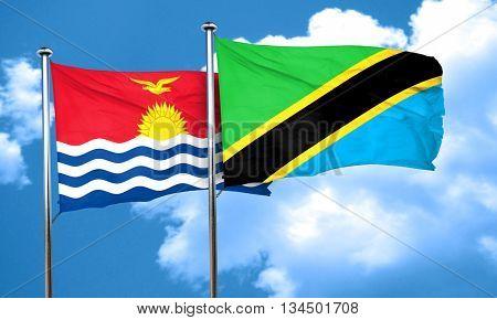 Kiribati flag with Tanzania flag, 3D rendering