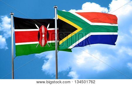 Kenya flag with South Africa flag, 3D rendering