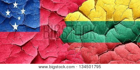 Samoa flag with Lithuania flag on a grunge cracked wall