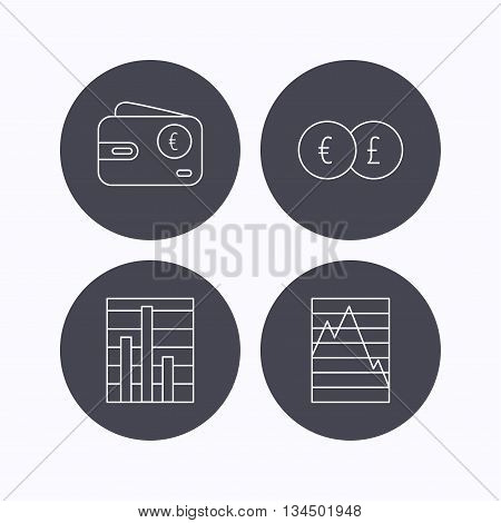 Currency exchange, chart and euro wallet icons. Statistics graph linear signs. Flat icons in circle buttons on white background. Vector