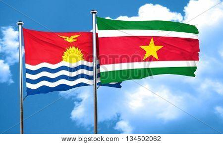 Kiribati flag with Suriname flag, 3D rendering