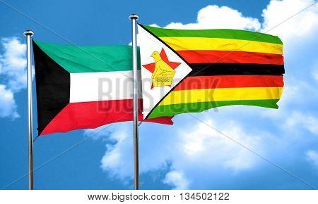 Kuwait flag with Zimbabwe flag, 3D rendering