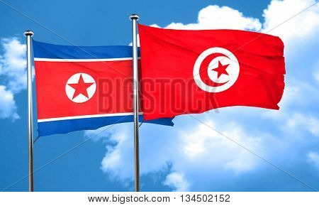 North Korea flag with Tunisia flag, 3D rendering