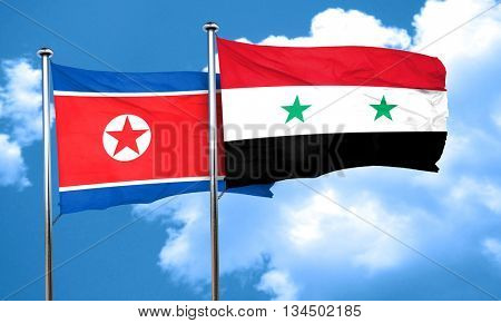 North Korea flag with Syria flag, 3D rendering