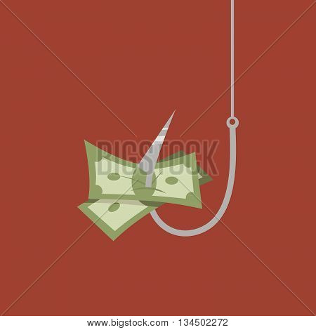 Money on hook. Concept flat vector illustration.