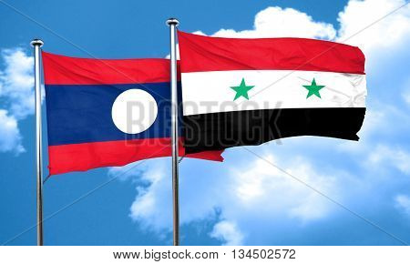 Laos flag with Syria flag, 3D rendering
