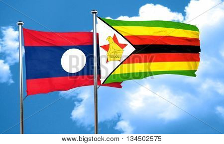 Laos flag with Zimbabwe flag, 3D rendering