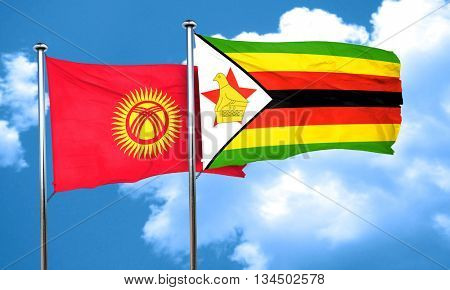 Kyrgyzstan flag with Zimbabwe flag, 3D rendering