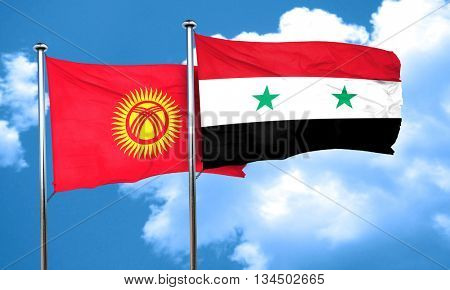 Kyrgyzstan flag with Syria flag, 3D rendering