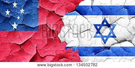 Samoa flag with Israel flag on a grunge cracked wall