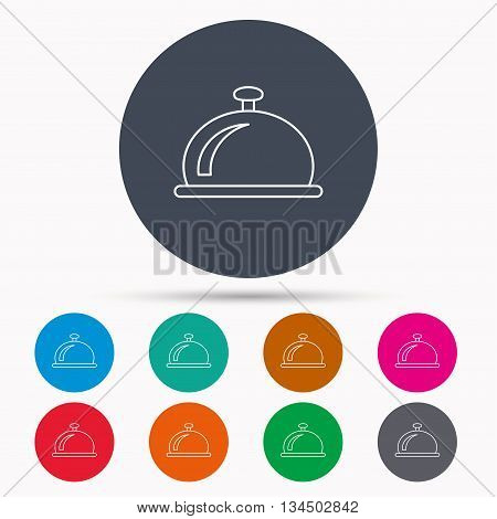 Reception bell icon. Hotel service sign. Icons in colour circle buttons. Vector