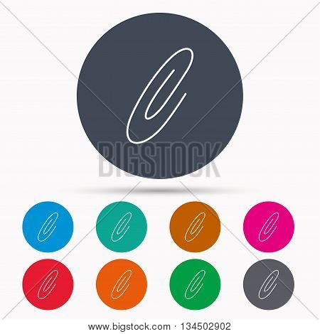 Safety pin icon. Paperclip sign. Icons in colour circle buttons. Vector