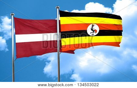 Latvia flag with Uganda flag, 3D rendering