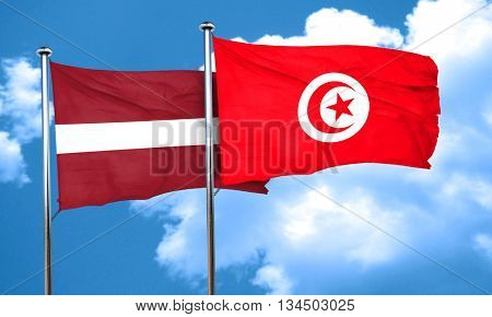 Latvia flag with Tunisia flag, 3D rendering