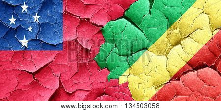 Samoa flag with congo flag on a grunge cracked wall