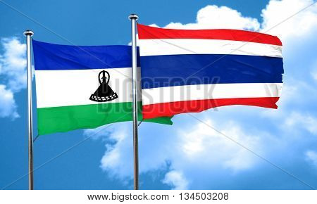 Lesotho flag with Thailand flag, 3D rendering