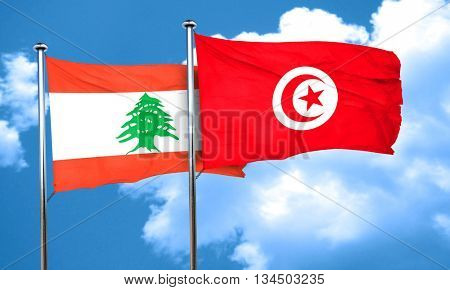 Lebanon flag with Tunisia flag, 3D rendering