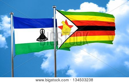 Lesotho flag with Zimbabwe flag, 3D rendering