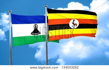 Lesotho flag with Uganda flag, 3D rendering
