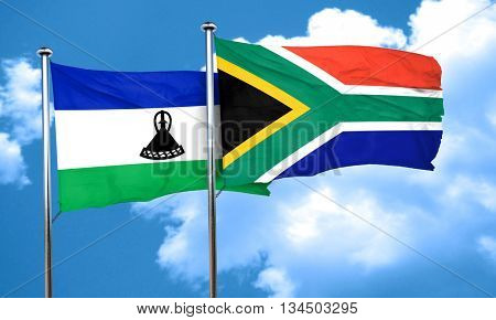 Lesotho flag with South Africa flag, 3D rendering