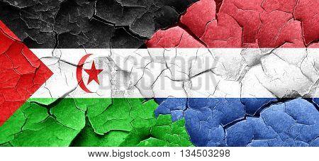 Western sahara flag with Netherlands flag on a grunge cracked wa