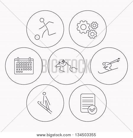 Horseback riding, football and skiing icons. Ski jumping linear sign. Check file, calendar and cogwheel icons. Vector
