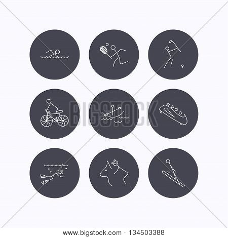 Swimming, tennis and golf icons. Biking, diving and horseback riding linear signs. Ski jumping, boating and bobsleigh icons. Flat icons in circle buttons on white background. Vector