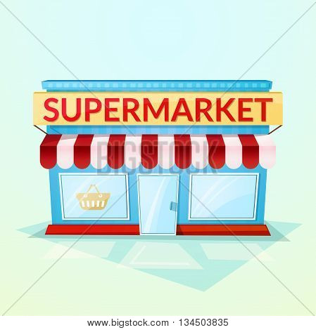Facade grocery store, beautiful bright cartoon house in the street environment, vector illustration isolated on background