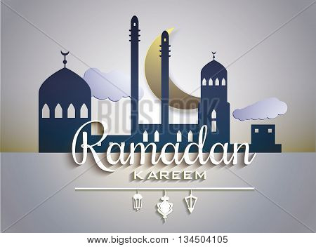 Stylish text Ramadan Kareem on paper tags with glossy crescent moon and mosque stars decorated shiny white background for Islamic Holy Month celebration. Vector