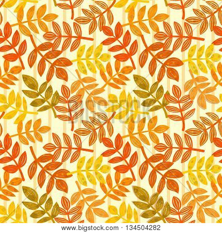 Seamless pattern with autumn colorful falling leaves, vector illustration