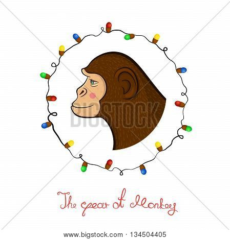 Bright colorful holiday card with a new year with a monkey cartoon character face in profile in the round frame, Christmas lights and calligraphy inscription congratulation in doodle style