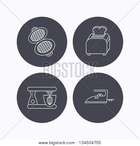 Iron, toaster and blender icons. Waffle-iron linear sign. Flat icons in circle buttons on white background. Vector