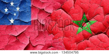 Samoa flag with Morocco flag on a grunge cracked wall