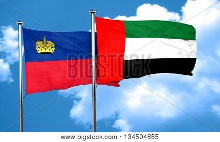 Liechtenstein flag with UAE flag, 3D rendering