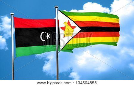 Libya flag with Zimbabwe flag, 3D rendering