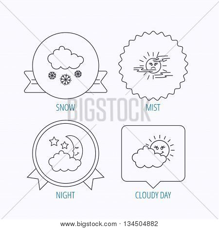Weather, mist and snow icons. Moon night, clouds linear signs. Award medal, star label and speech bubble designs. Vector
