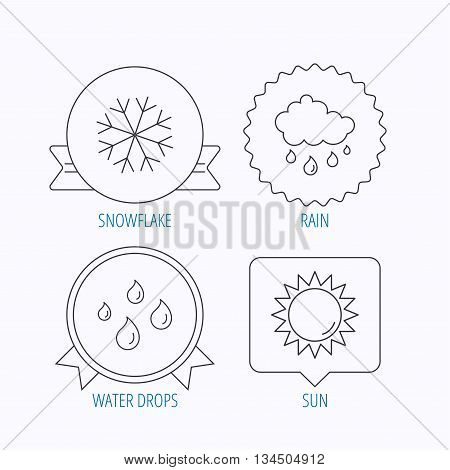 Snowflake, sun and rain icons. Water drops linear sign. Award medal, star label and speech bubble designs. Vector