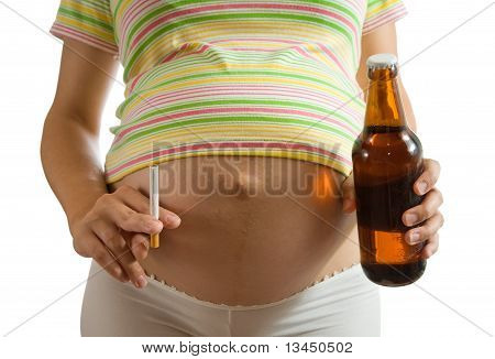 Pregnant Woman Holding Cigarette And Beer