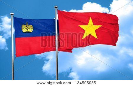 Liechtenstein flag with Vietnam flag, 3D rendering