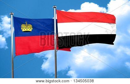 Liechtenstein flag with Yemen flag, 3D rendering
