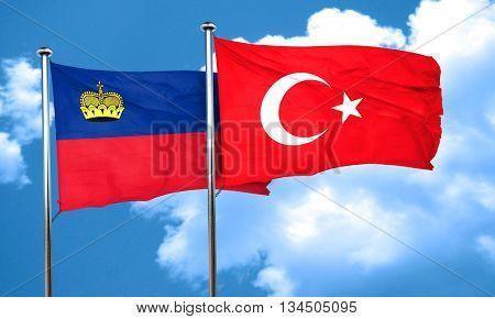 Liechtenstein flag with Turkey flag, 3D rendering