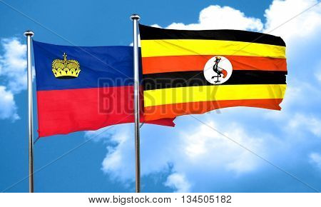 Liechtenstein flag with Uganda flag, 3D rendering