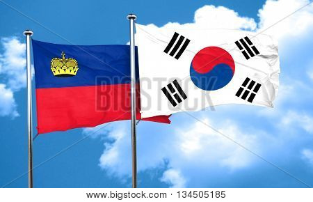 Liechtenstein flag with South Korea flag, 3D rendering