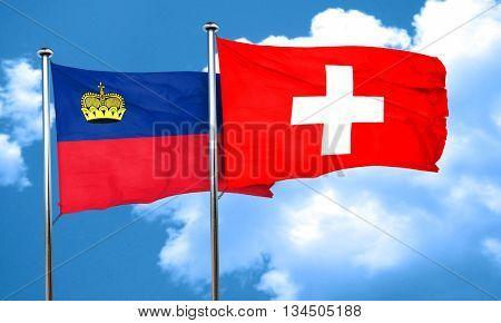 Liechtenstein flag with Switzerland flag, 3D rendering