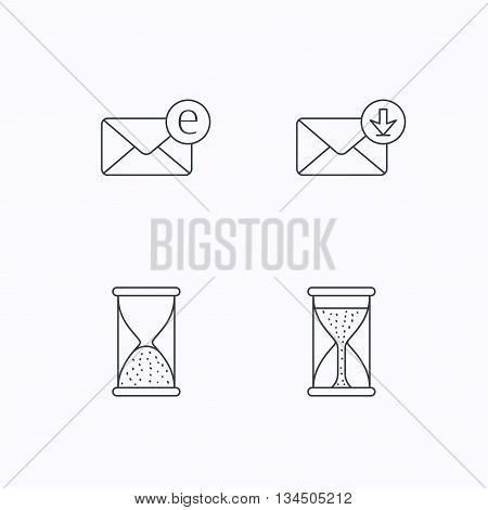 Hourglass, inbox mail and e-mail icons. Hourglass linear sign. Flat linear icons on white background. Vector
