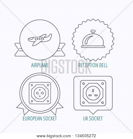Air-plane, european socket and reception bell icons. UK socket linear sign. Award medal, star label and speech bubble designs. Vector