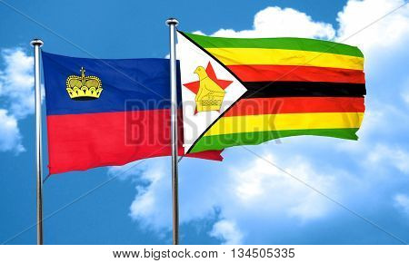 Liechtenstein flag with Zimbabwe flag, 3D rendering