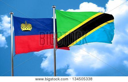 Liechtenstein flag with Tanzania flag, 3D rendering